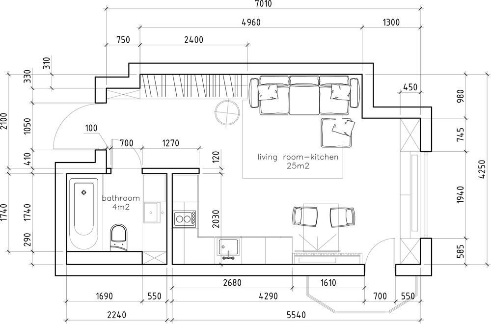 Планировка маленькой квартиры в светлых тонах