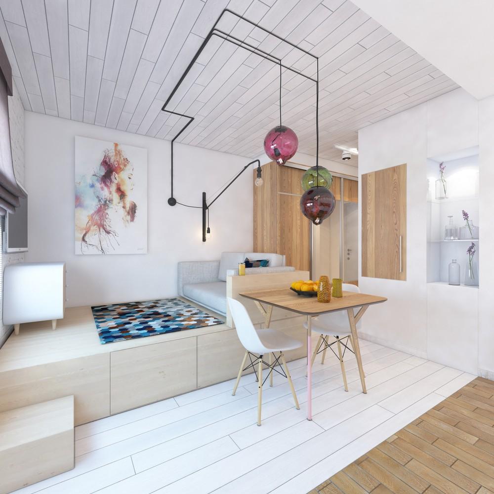 Дизайн интерьера маленькой квартиры с яркими акцентами - фото 2