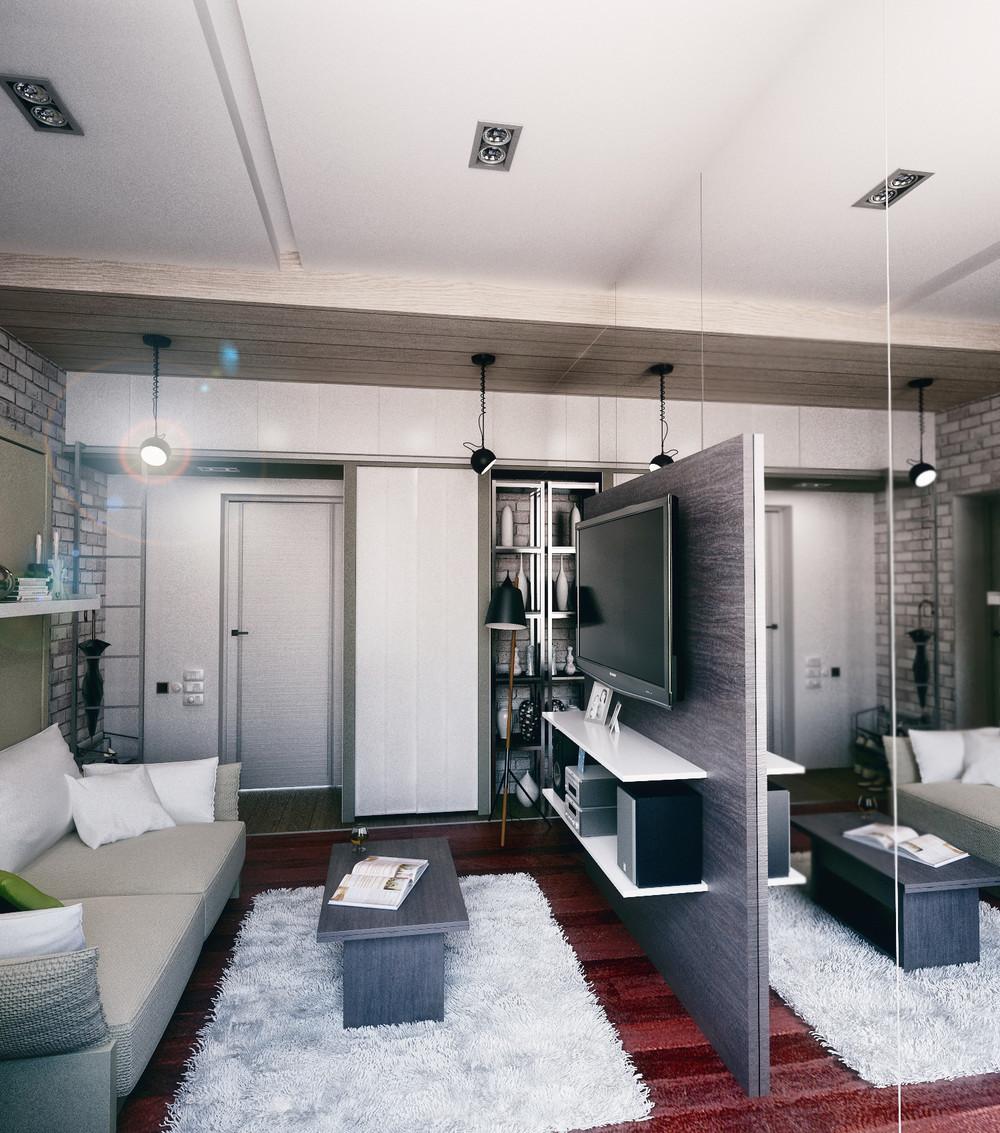 Дизайн интерьера маленькой квартиры в стиле лофт - фото 3