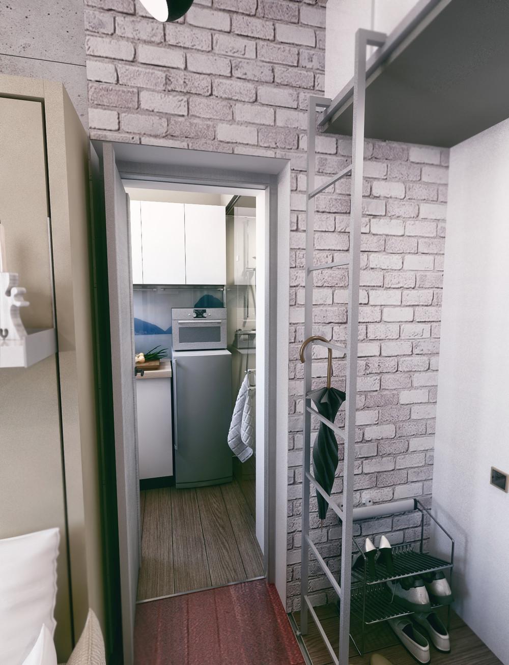 Вход на кухню в стиле лофт