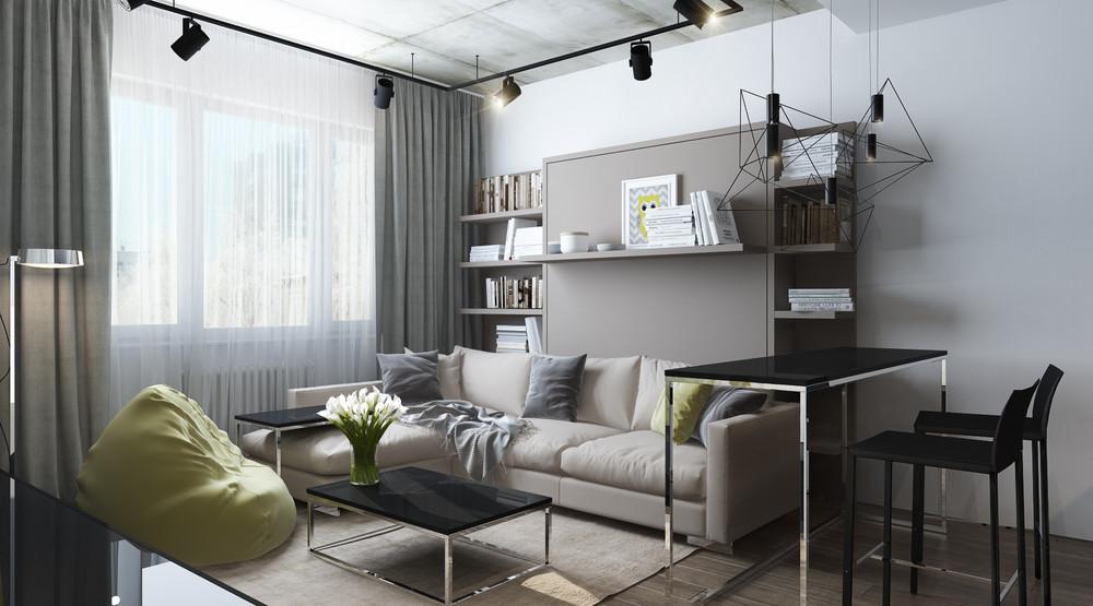Дизайн интерьера маленькой квартиры в серых тонах - фото 2