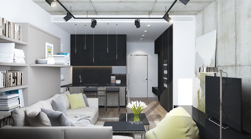 Дизайн интерьера маленькой квартиры в серых тонах - фото 6