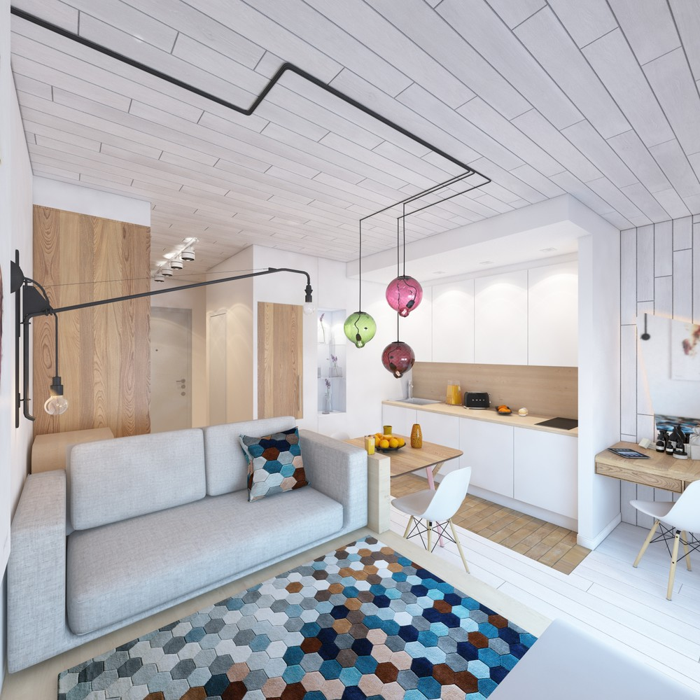 Дизайн интерьера маленькой квартиры с яркими акцентами