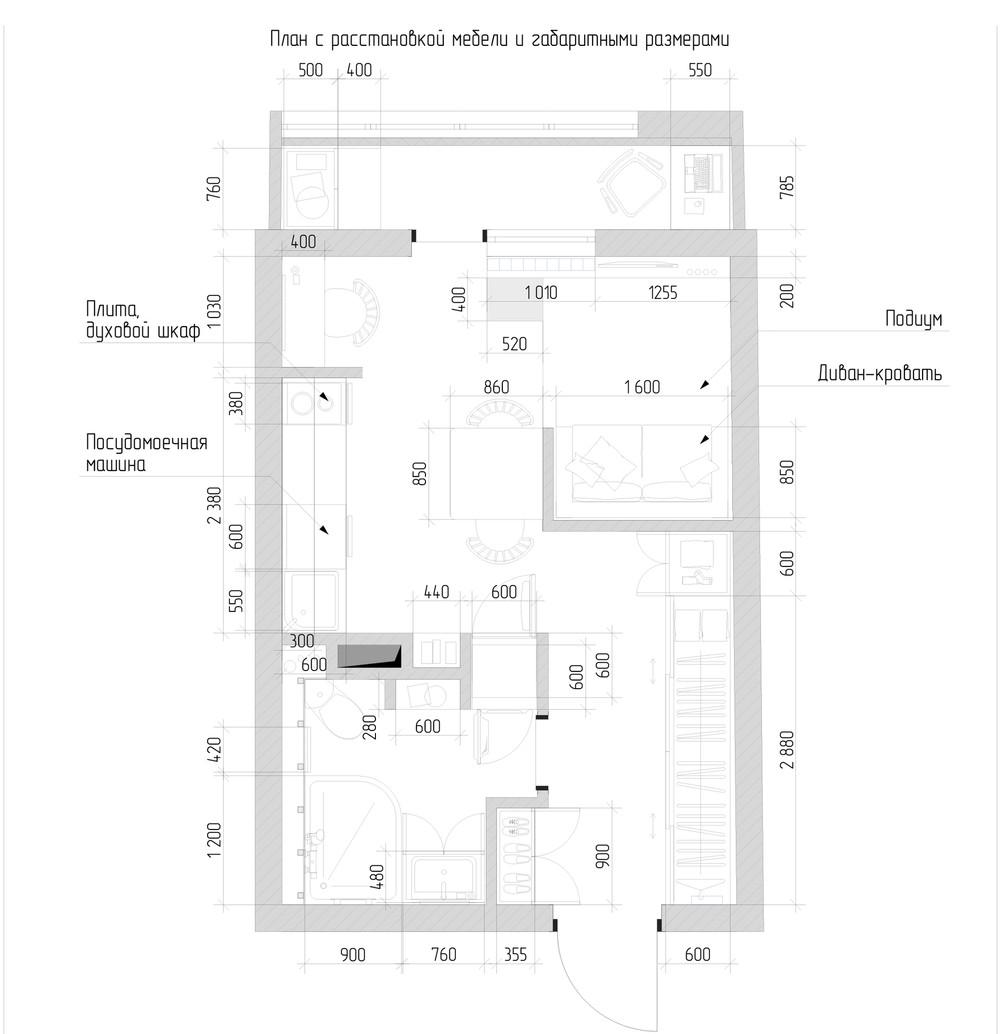 Планировка маленькой квартиры с яркими акцентами