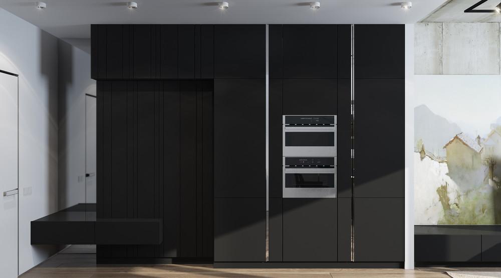 Шкаф в интерьере маленькой квартиры в серых тонах