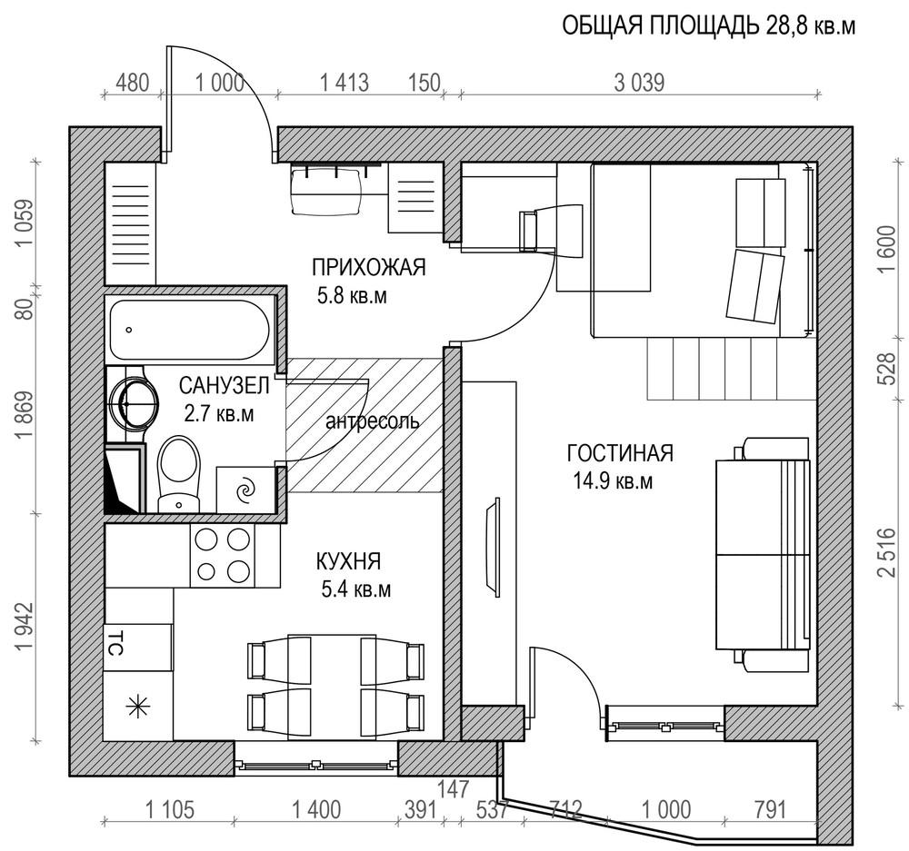 Планировка маленькой двухуровневой квартиры
