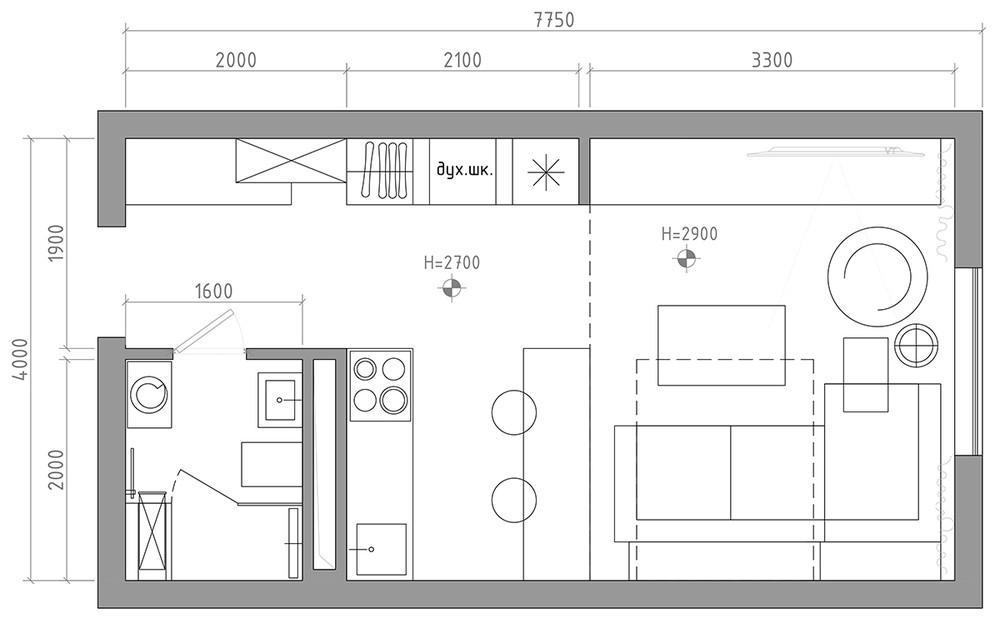 Планировка маленькой квартиры в серых тонах