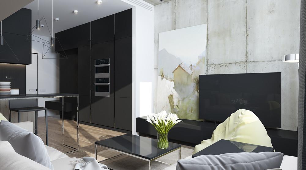 Дизайн интерьера маленькой квартиры в серых тонах - фото 4