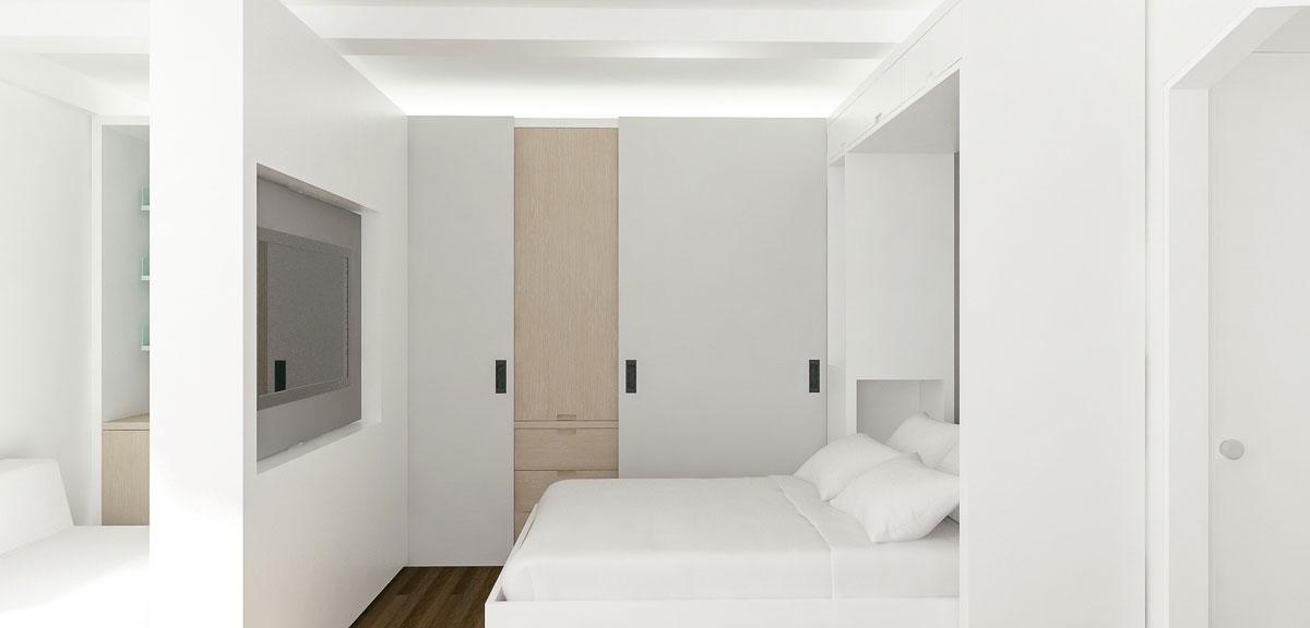 Спальня за передвижной перегородкой