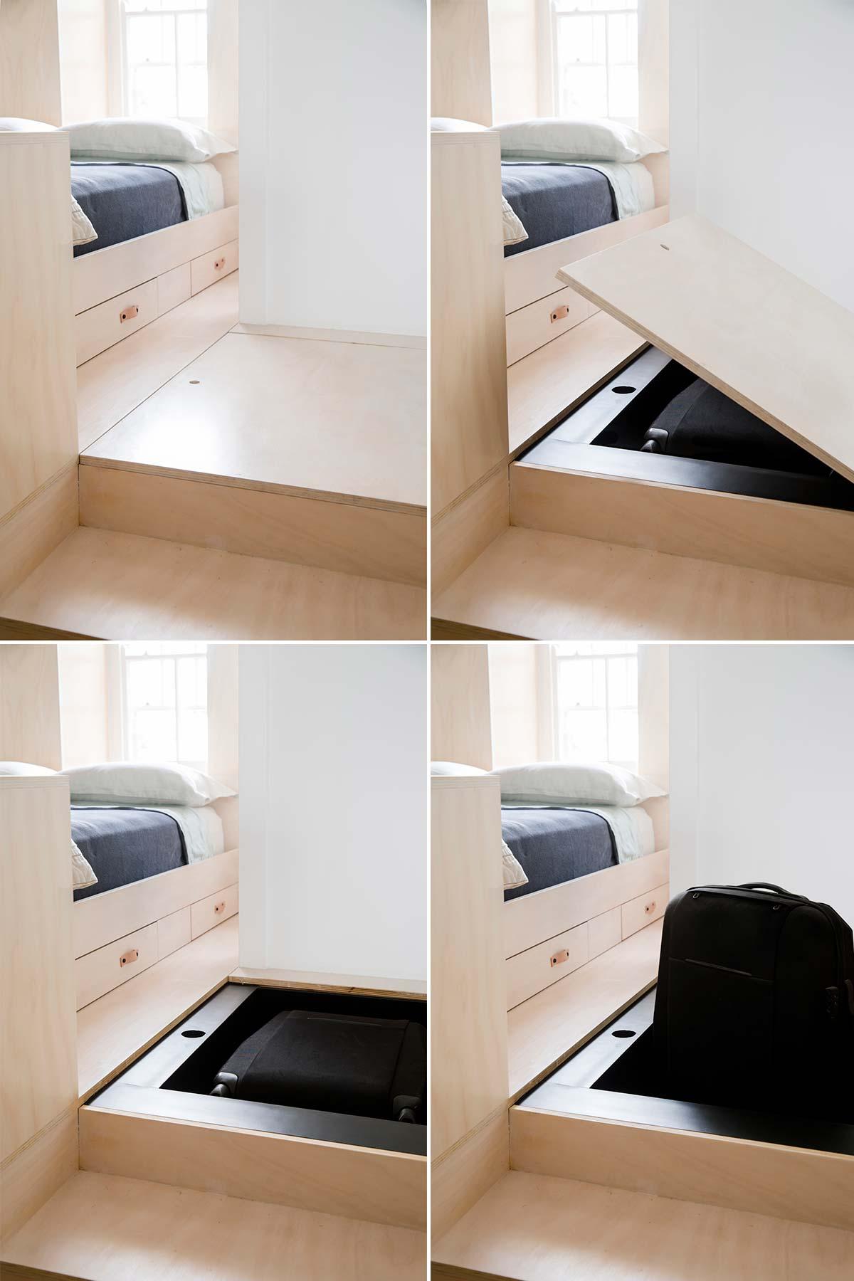 Дизайн интерьера маленькой квартиры в Сиднее - чемодан в ящике