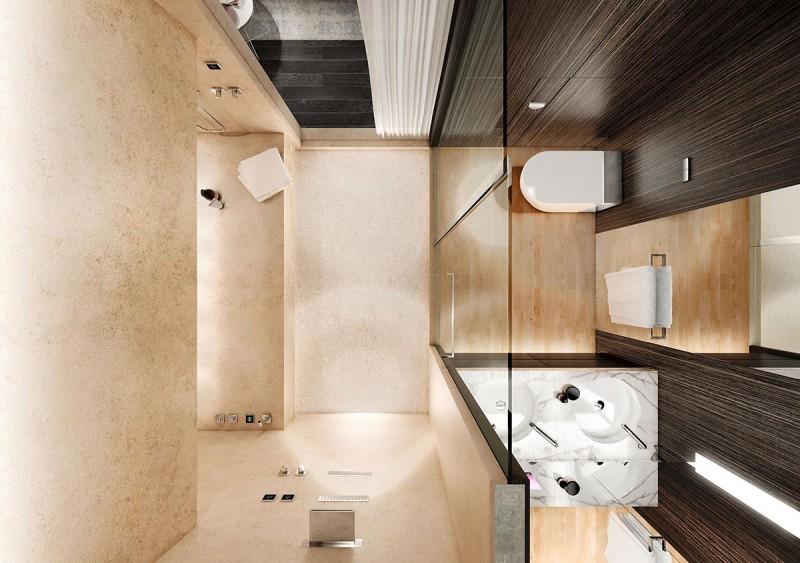 Современный дизайн интерьера маленькой ванной