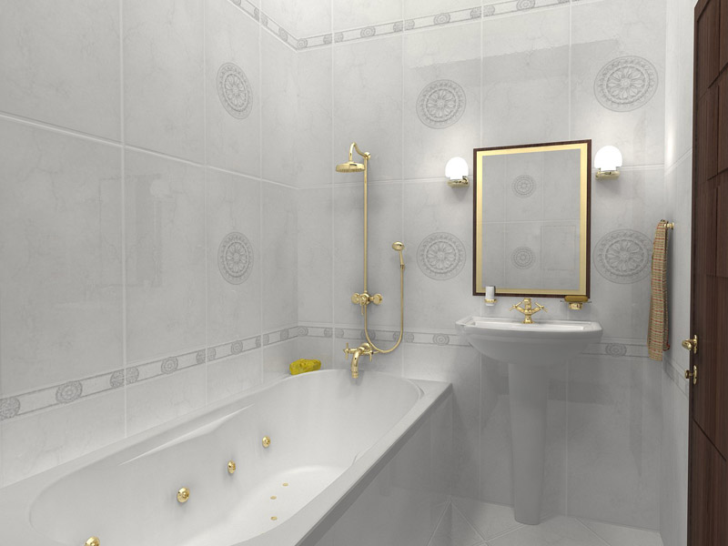 Дизайн маленькой ванной комнаты плитка