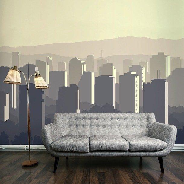 Фотообои на стене в гостиной