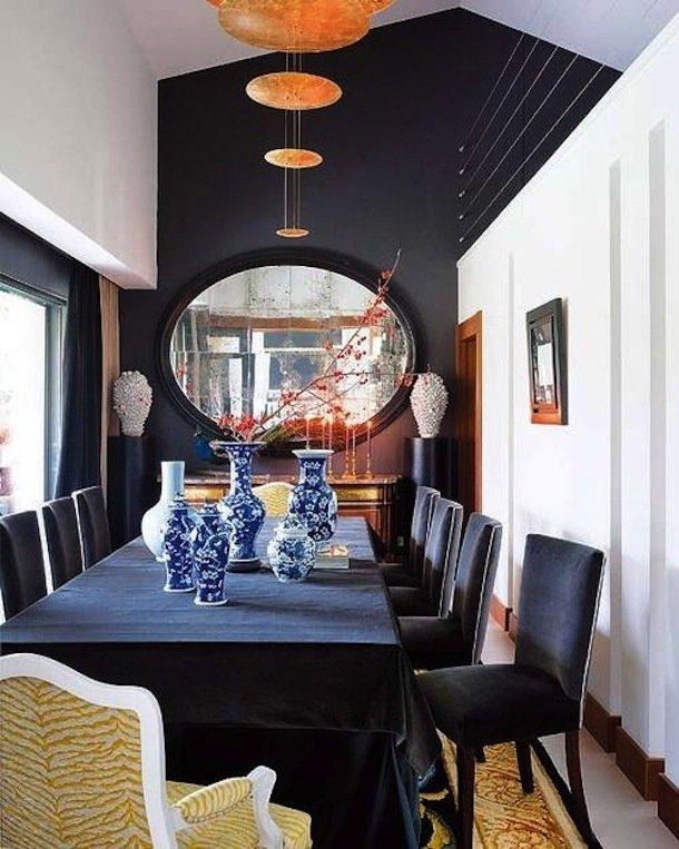 Интерьер столовой в чёрном цвете