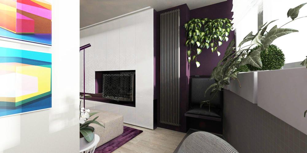 Сливовые акценты в дизайне крошечной квартиры