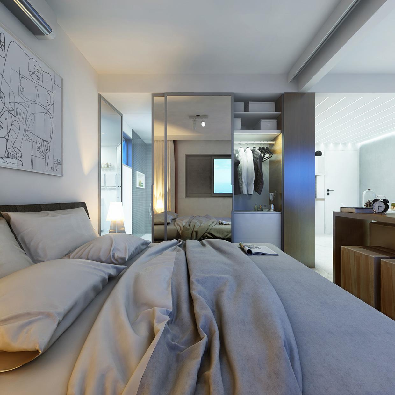 Дизайн крошечной спальни в пастельных тонах