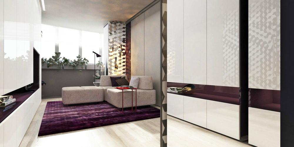 Дизайн крошечной квартиры со сливовыми акцентами
