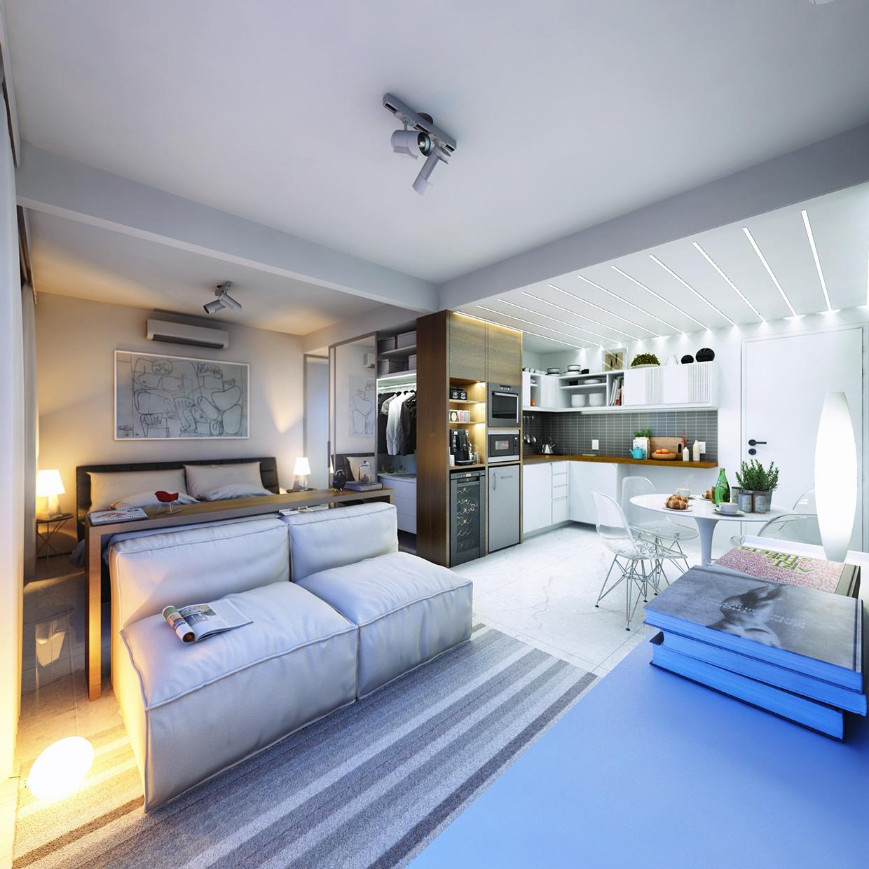 Дизайн крошечной квартиры в светлых тонах