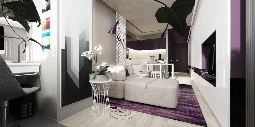 Мобильная перегородка в дизайне крошечной квартиры