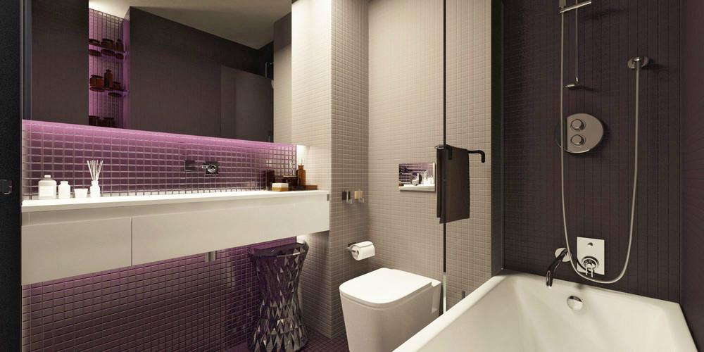 Лиловые акценты в дизайне крошечной ванной