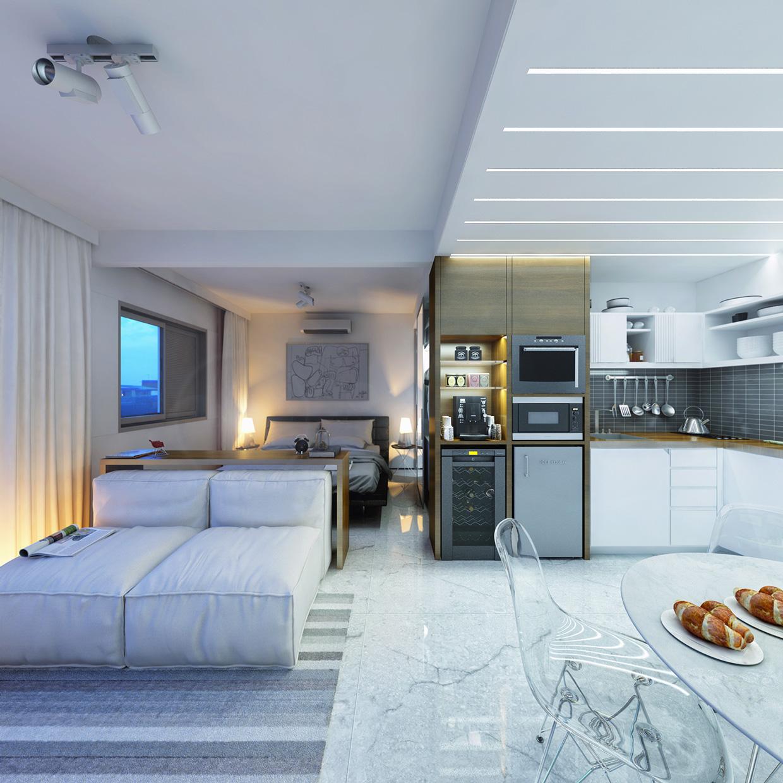 Дизайн крошечной квартиры открытой планировки