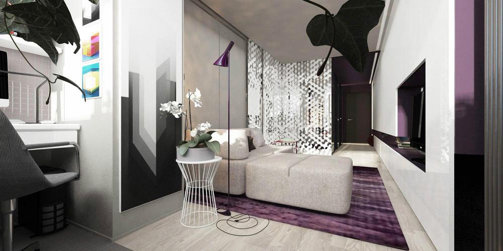 Лиловые акценты в дизайне крошечной квартиры