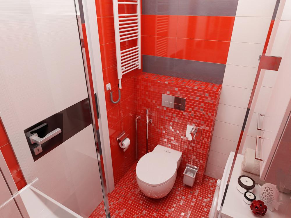 Дизайн ванной комнаты с красными акцентами