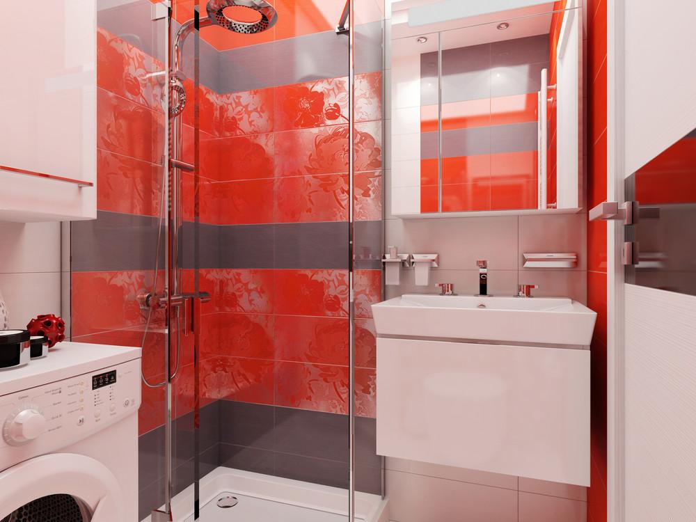 Дизайн ванной комнаты с красными акцентами - фото 2