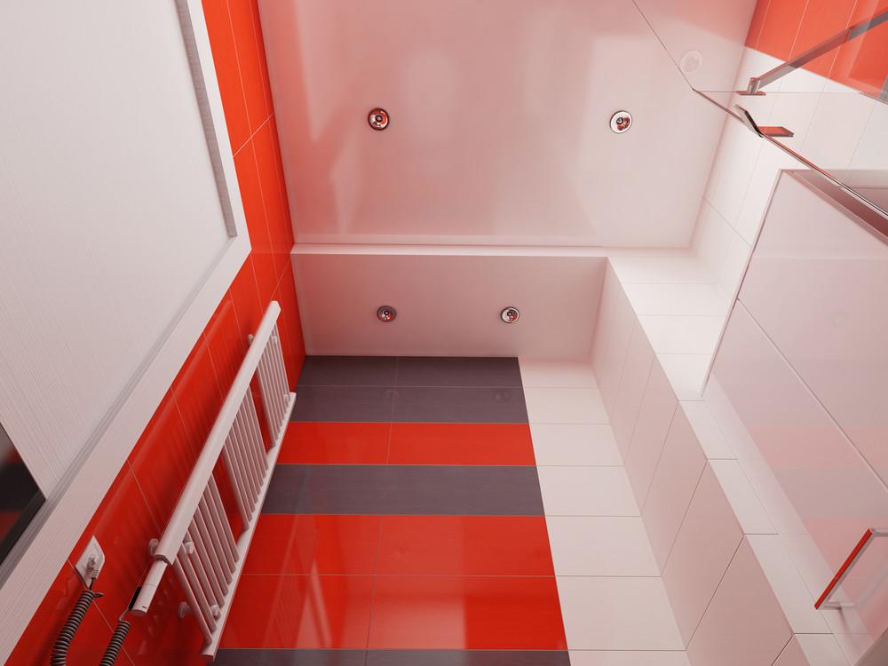 Дизайн ванной комнаты с красными акцентами - фото 3