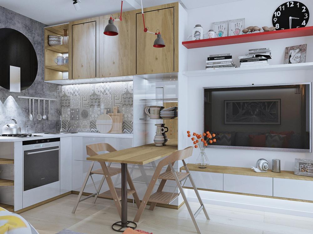 Дизайн квартиры 30 кв. м в натуральных тонах - фото 6