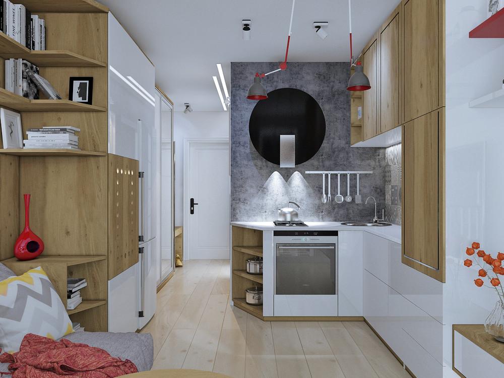 Дизайн квартиры 30 кв. м в натуральных тонах - фото 5