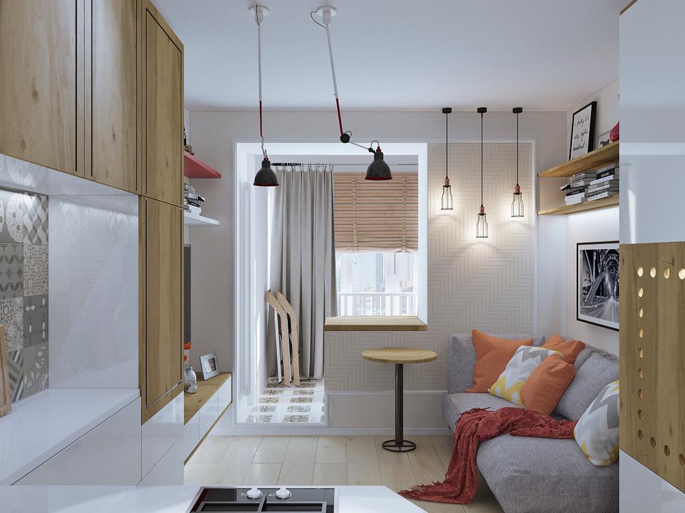 Дизайн квартиры 30 кв. м в натуральных тонах - фото 2