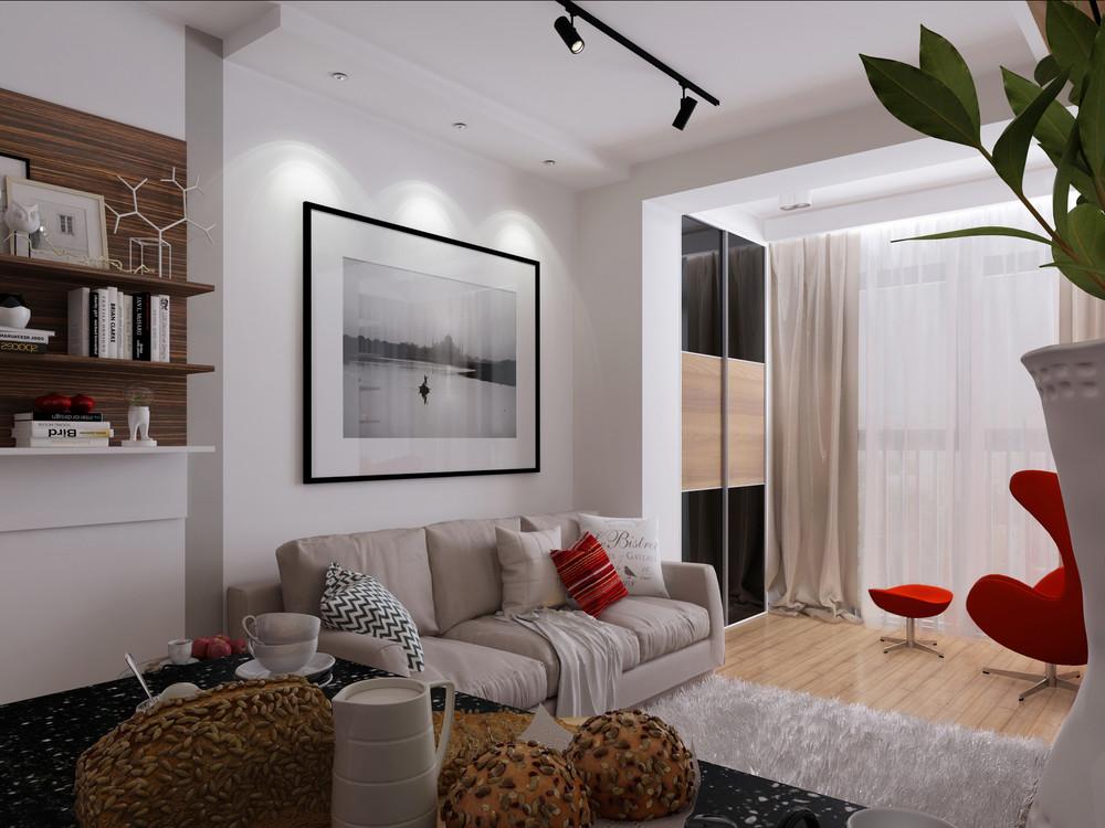 Дизайн квартиры 30 кв. м с красными акцентами - фото 2