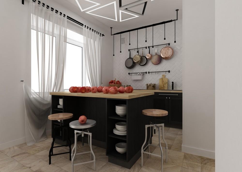 Дизайн квартиры 30 кв. м в чёрно-белом цвете - фото 4