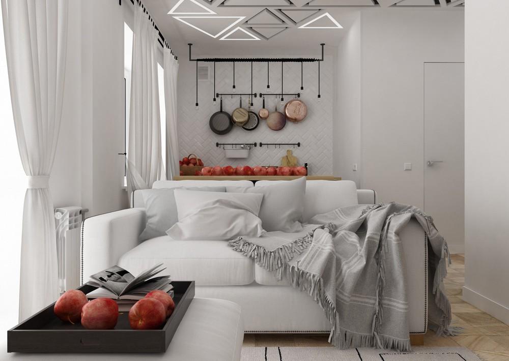 Дизайн квартиры 30 кв. м в чёрно-белом цвете