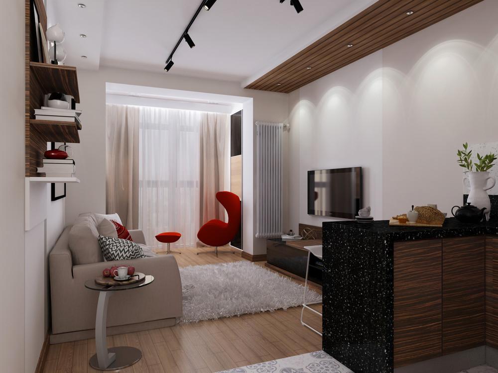 Дизайн квартиры 30 кв. м с красными акцентами - фото 3