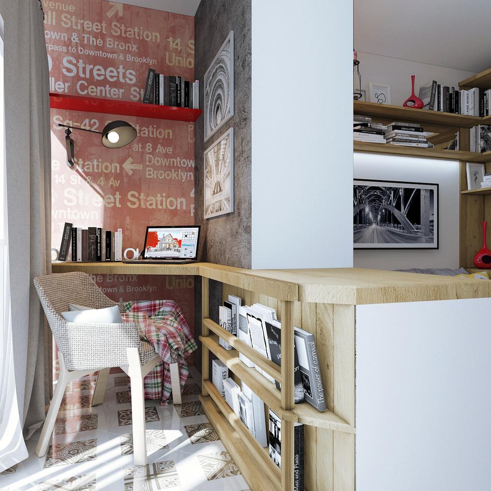 Дизайн квартиры 30 кв. м в натуральных тонах - фото 3