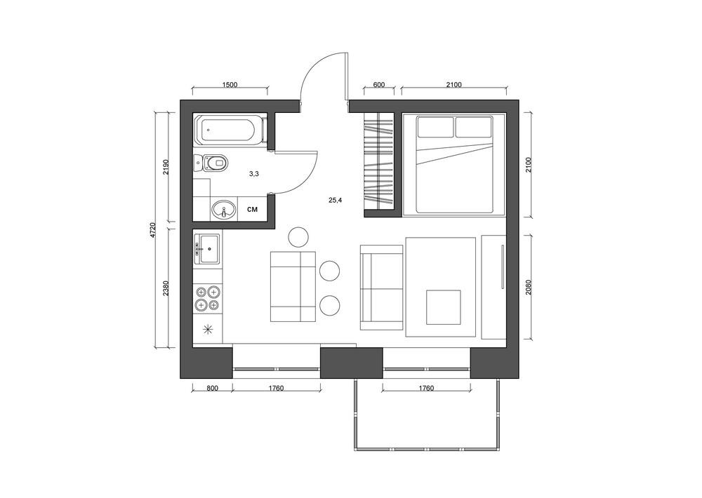 Планировка квартиры 30 кв. м в чёрно-белом цвете