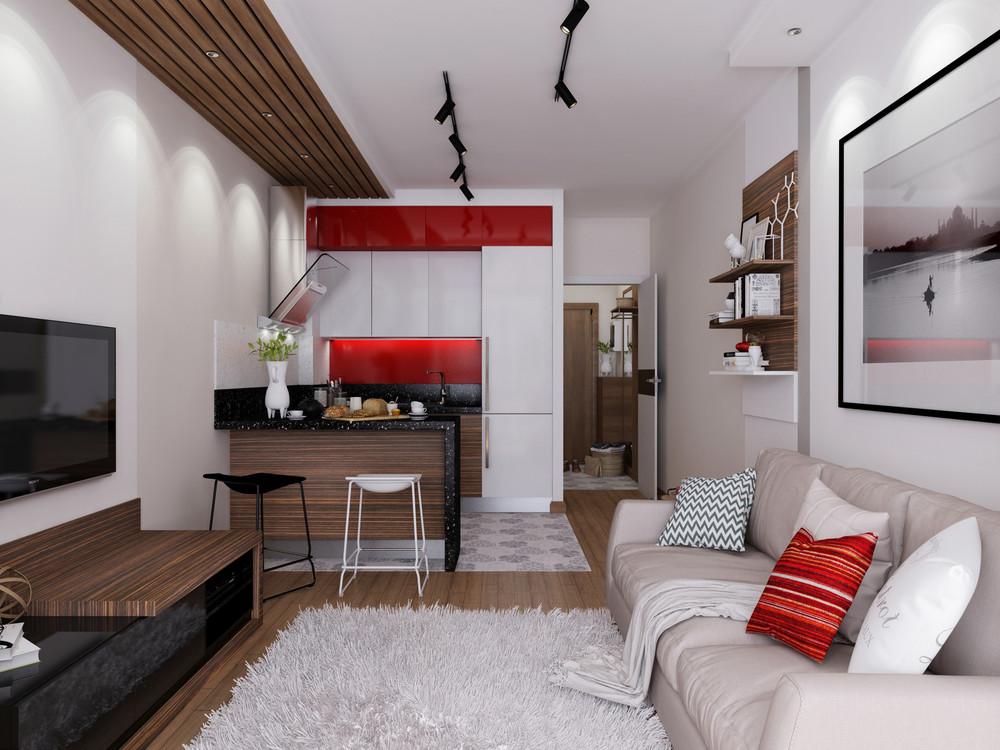 Дизайн квартиры 30 кв. м с красными акцентами
