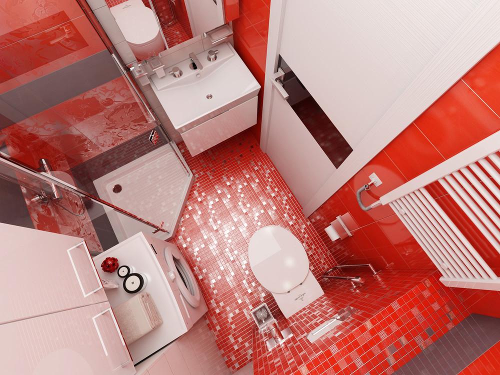 Дизайн ванной комнаты с красными акцентами - фото 4