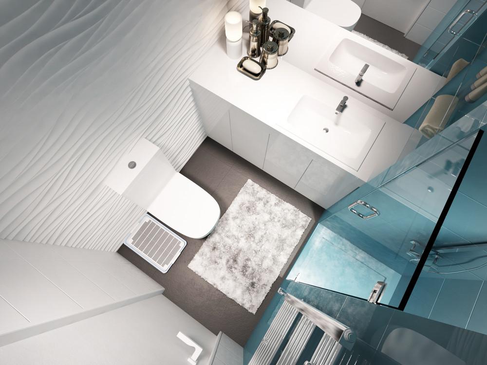 Дизайн ванной комнаты в бело-голубых тонах