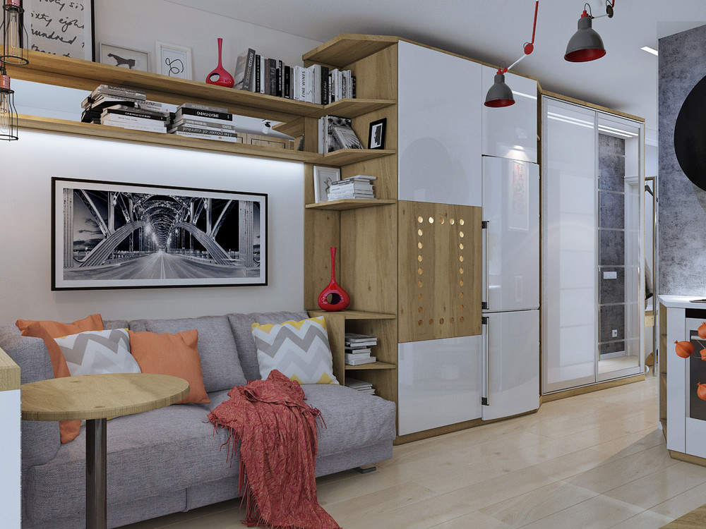 Дизайн квартиры 30 кв. м в натуральных тонах