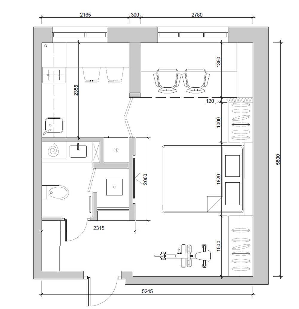 Планировка квартиры 30 кв. м в пастельных тонах