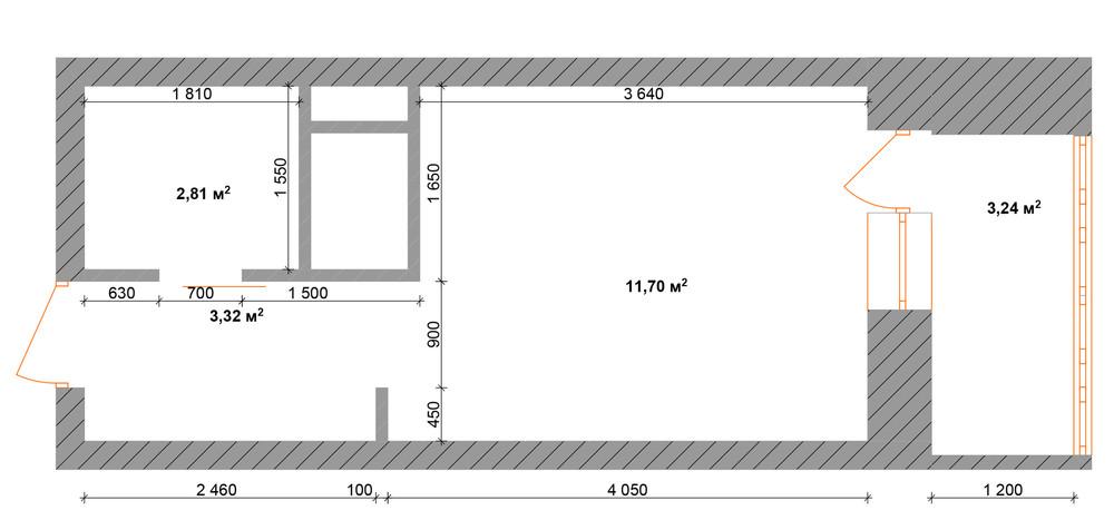 Планировка квартиры 30 кв. м в натуральных тонах без меблировки