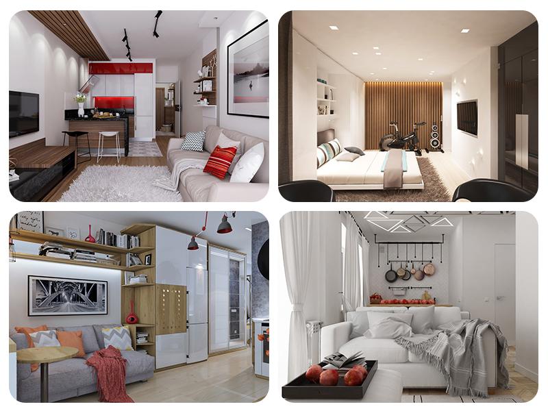 Дизайн квартир 30 кв. м в разных вариантах