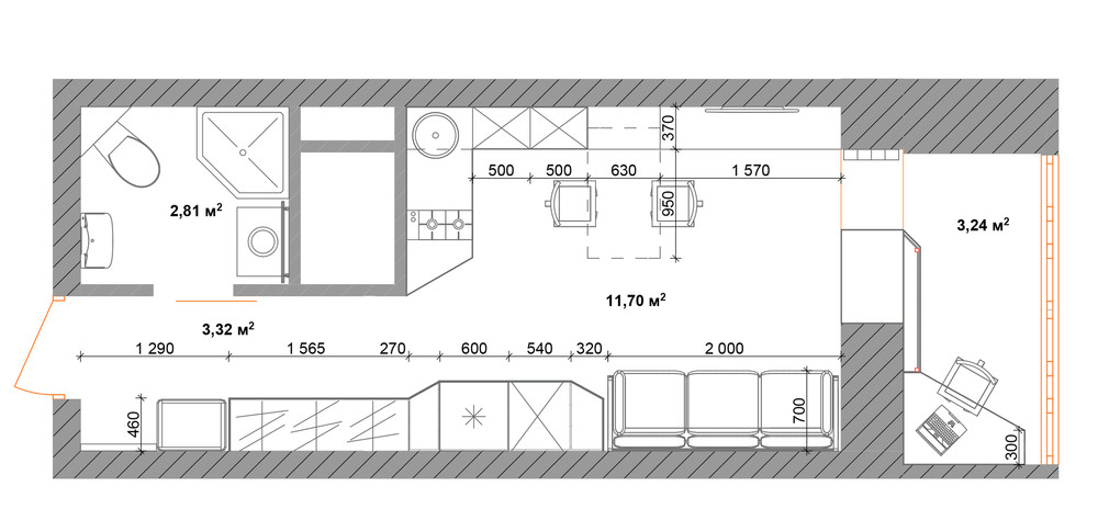 Планировка квартиры 30 кв. м в натуральных тонах с меблировкой