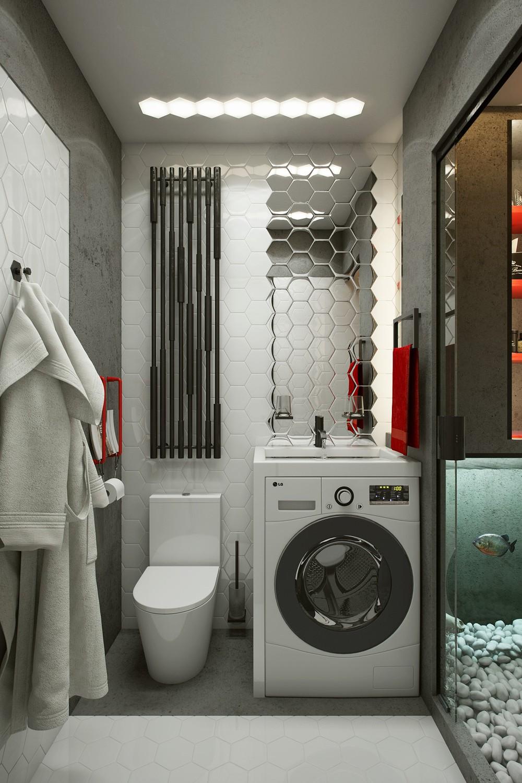 Зеркало в форме сот в ванной
