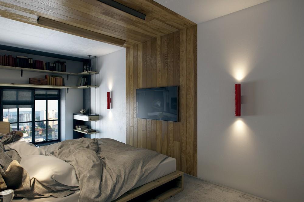 Деревянная панель в интерьере спальни