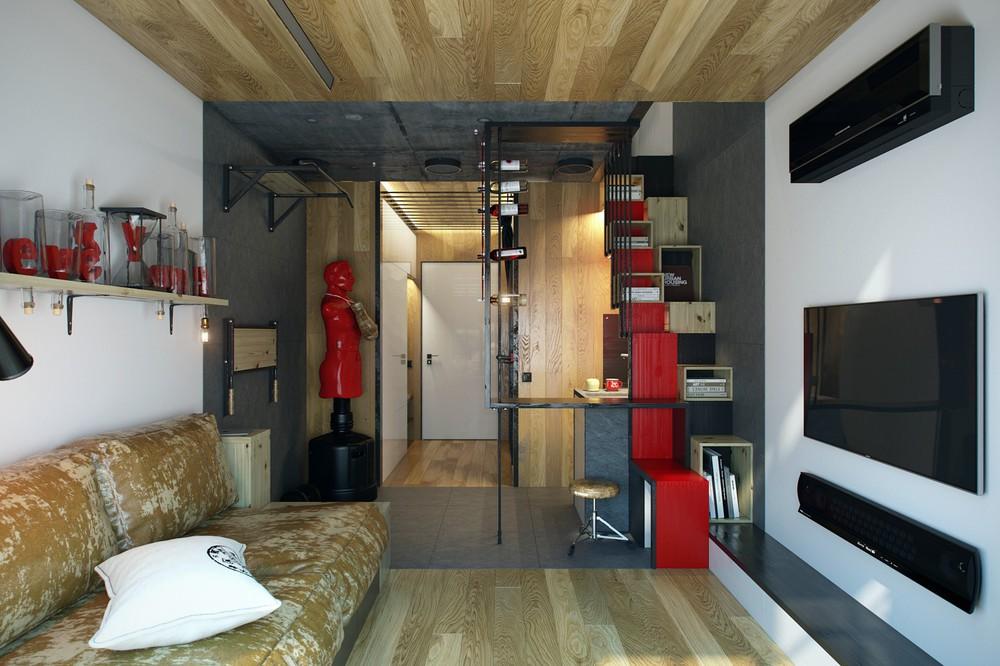 Красные и чёрные акценты в интрьере светлой гостиной