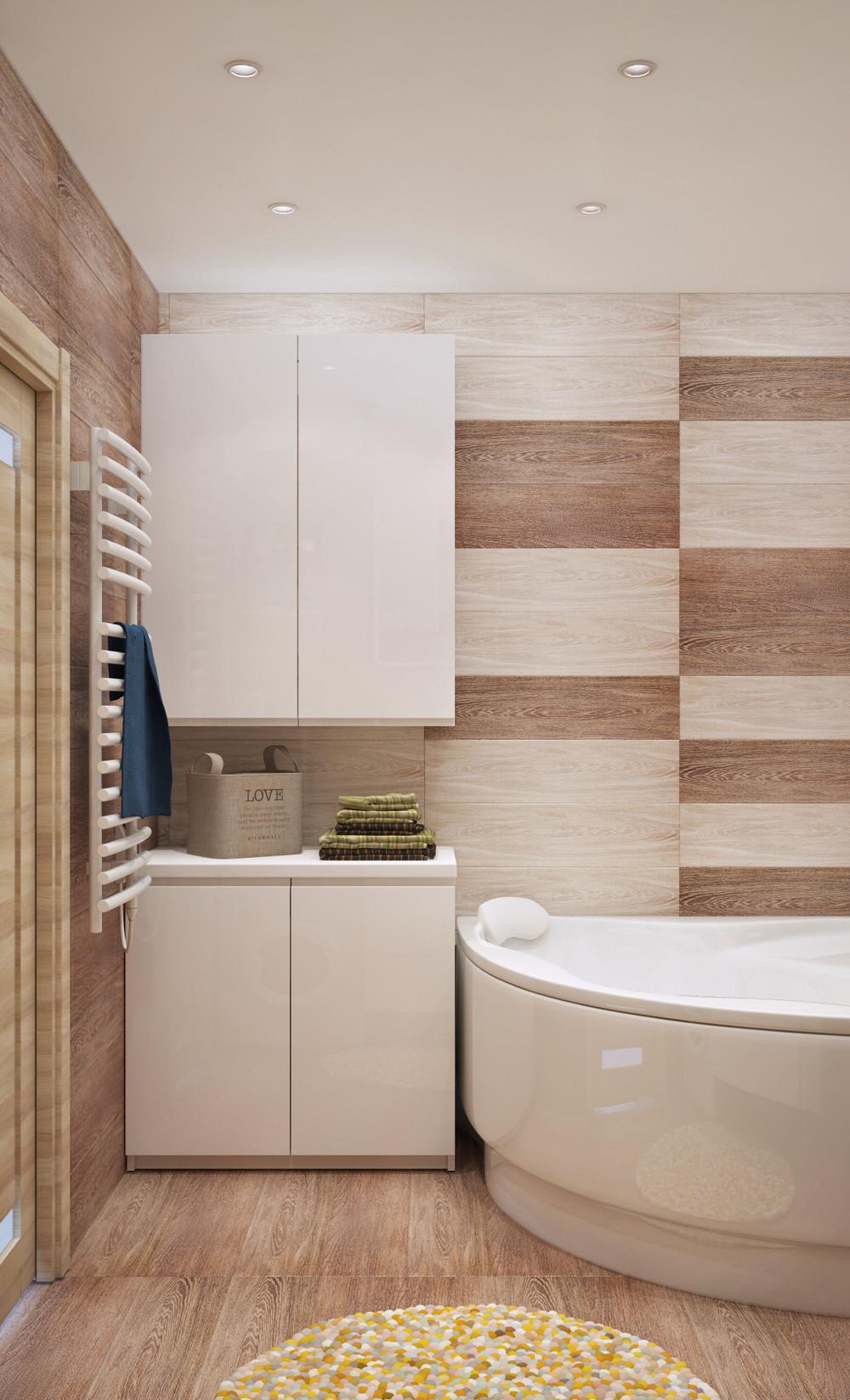 Интерьер ванной комнаты в маленькой квартире